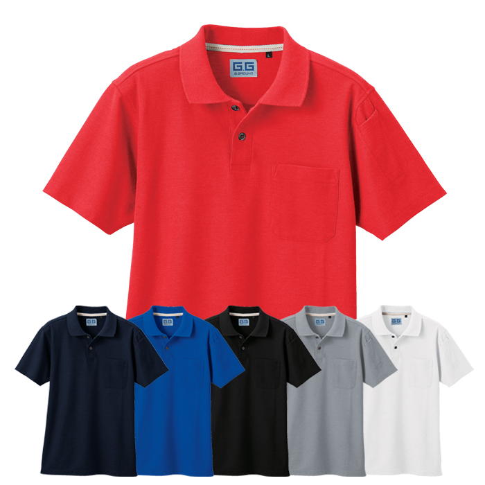 G.GROUND 細身シルエット半袖ポロシャツ(胸ポケットあり)